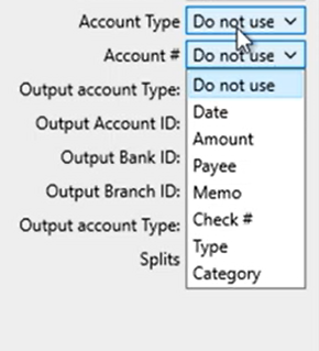 Mapping CSV files Step 10: review mapping account number