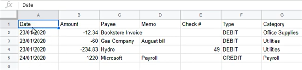 Mapping CSV files Step 3: spreadsheet form