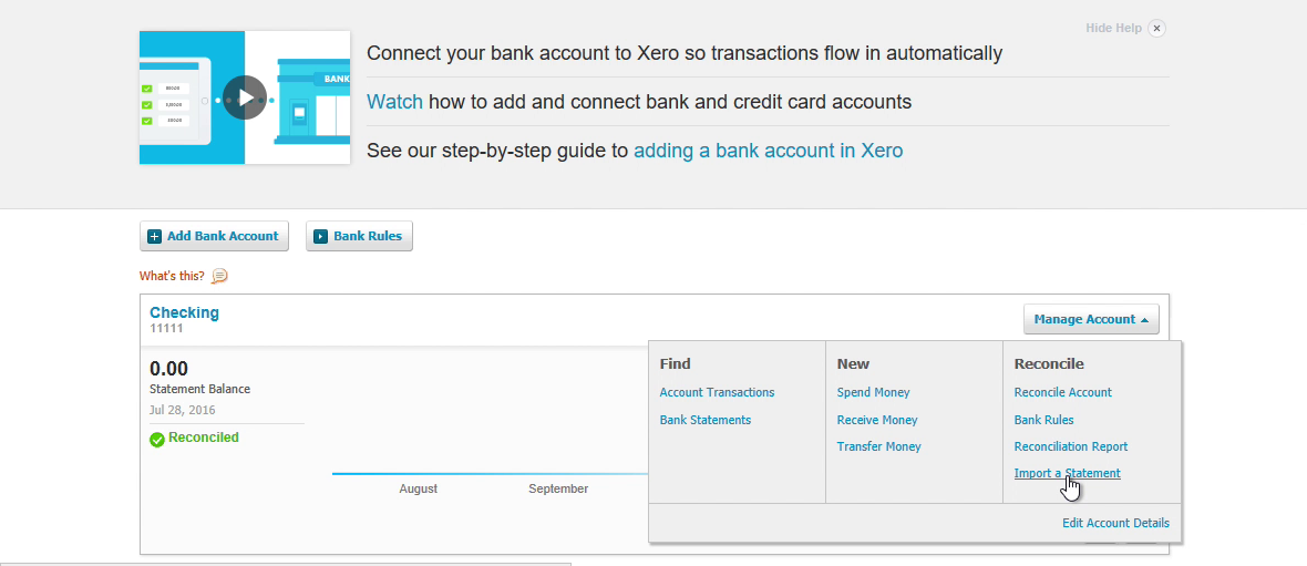 Bank2OFX Windows Step 9: import a bank statement in Xero