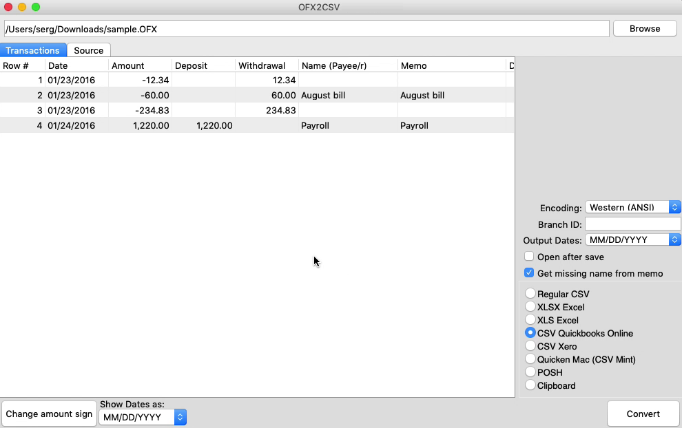 OFX2CSV Mac Step 2: review transactions before converting