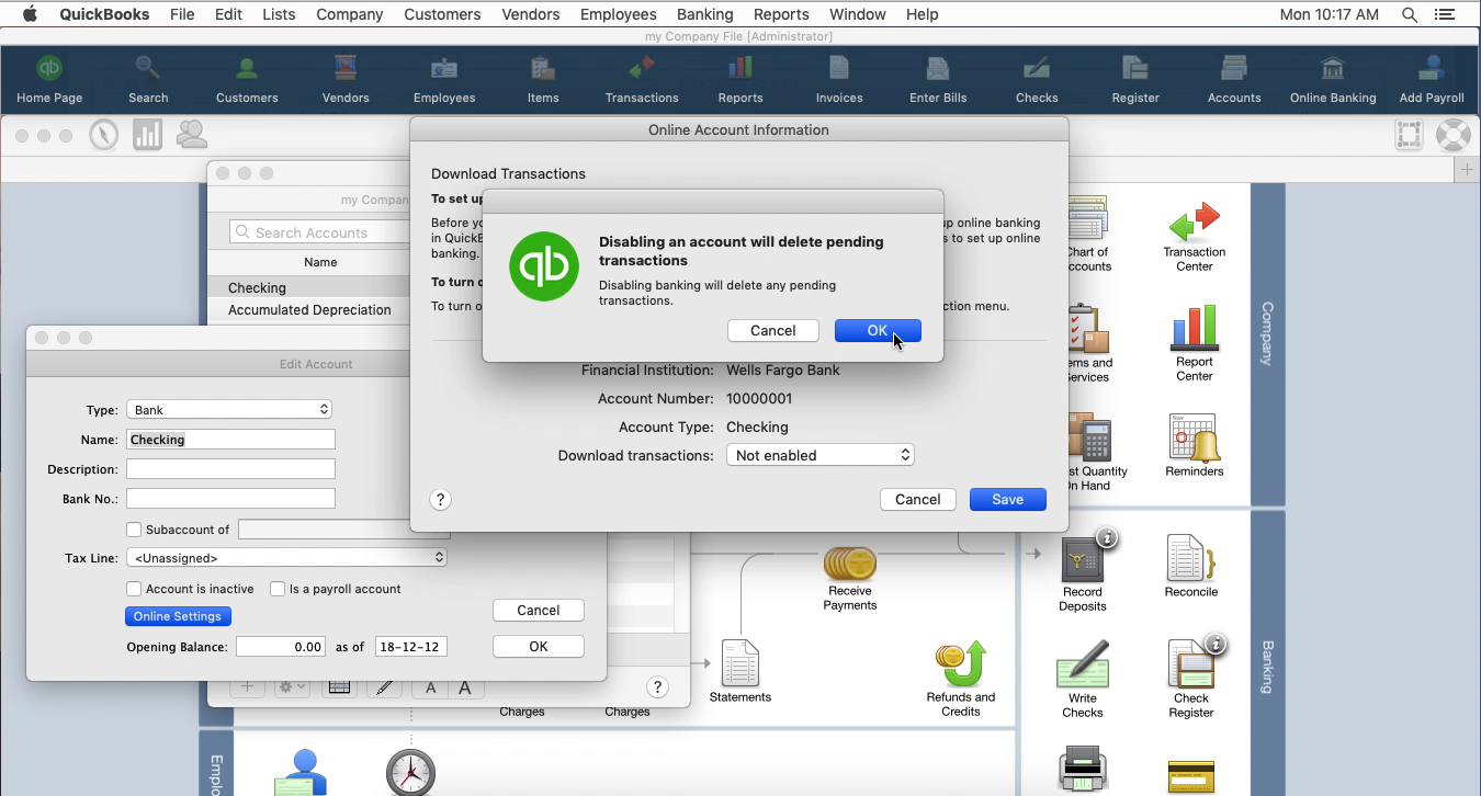 OFX2QBO Mac Step 11: disabling an account in Quickbooks