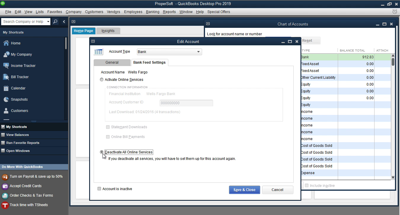 OFX2QBO Windows Step 12: deactivate all online services in Quickbooks