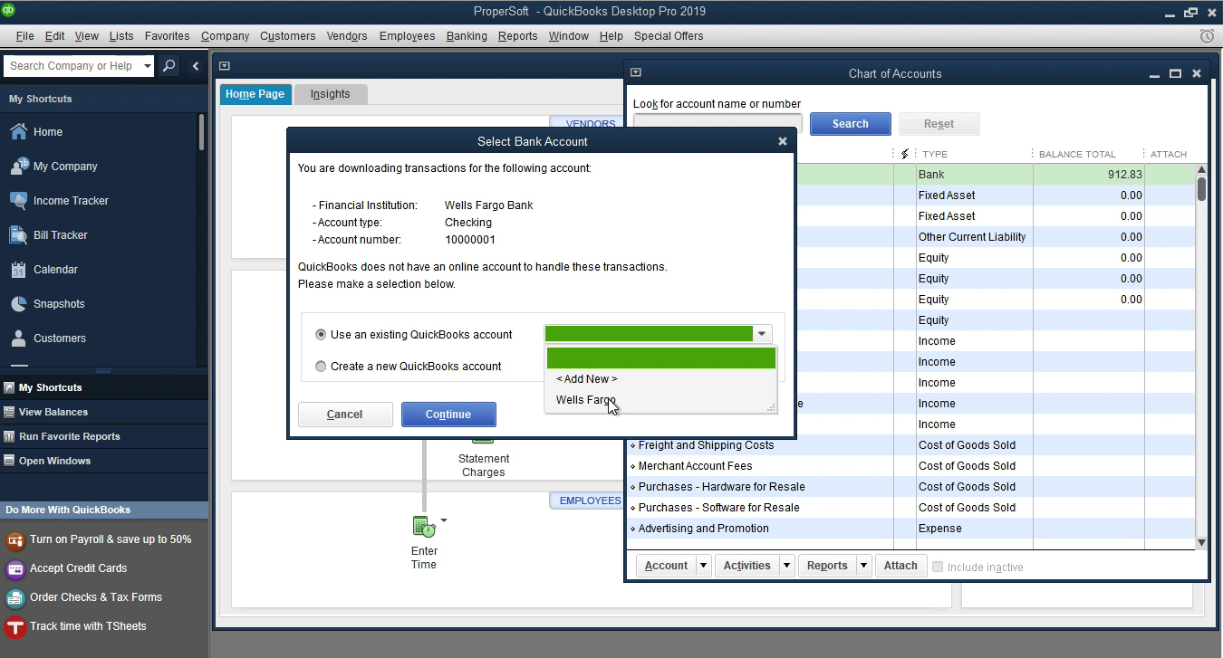OFX2QBO Windows Step 14: select an existing account in Quickbooks