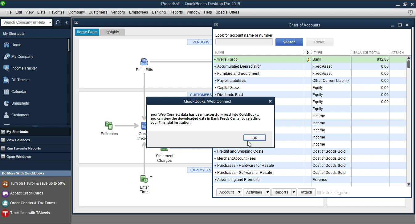 OFX2QBO Windows Step 15: data is imported in Quickbooks