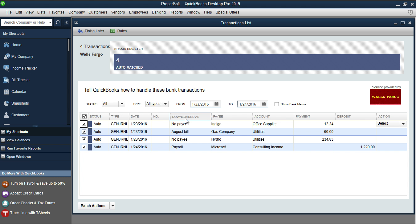 OFX2QBO Windows Step 17: downloaded as column in Quickbooks