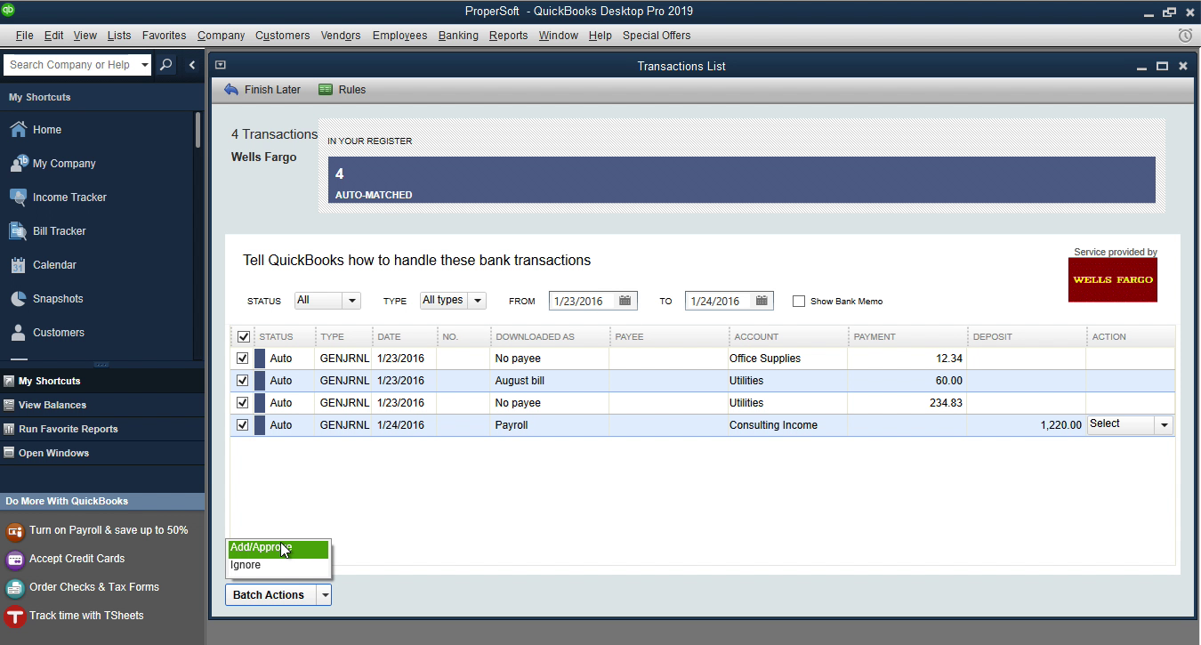 OFX2QBO Windows Step 19: add transactions to the register in Quickbooks
