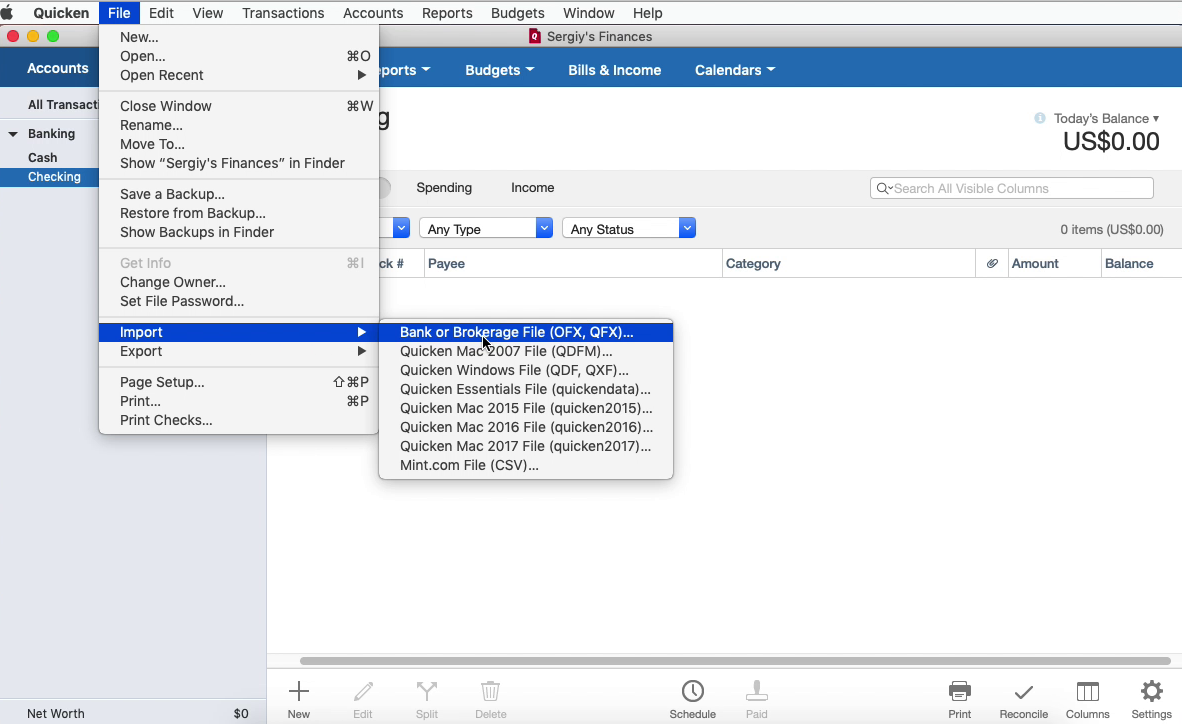 OFX2QFX Mac Step 15: file, import in Quicken