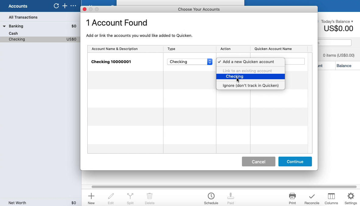 OFX2QFX Mac Step 16: select an existing account in Quicken