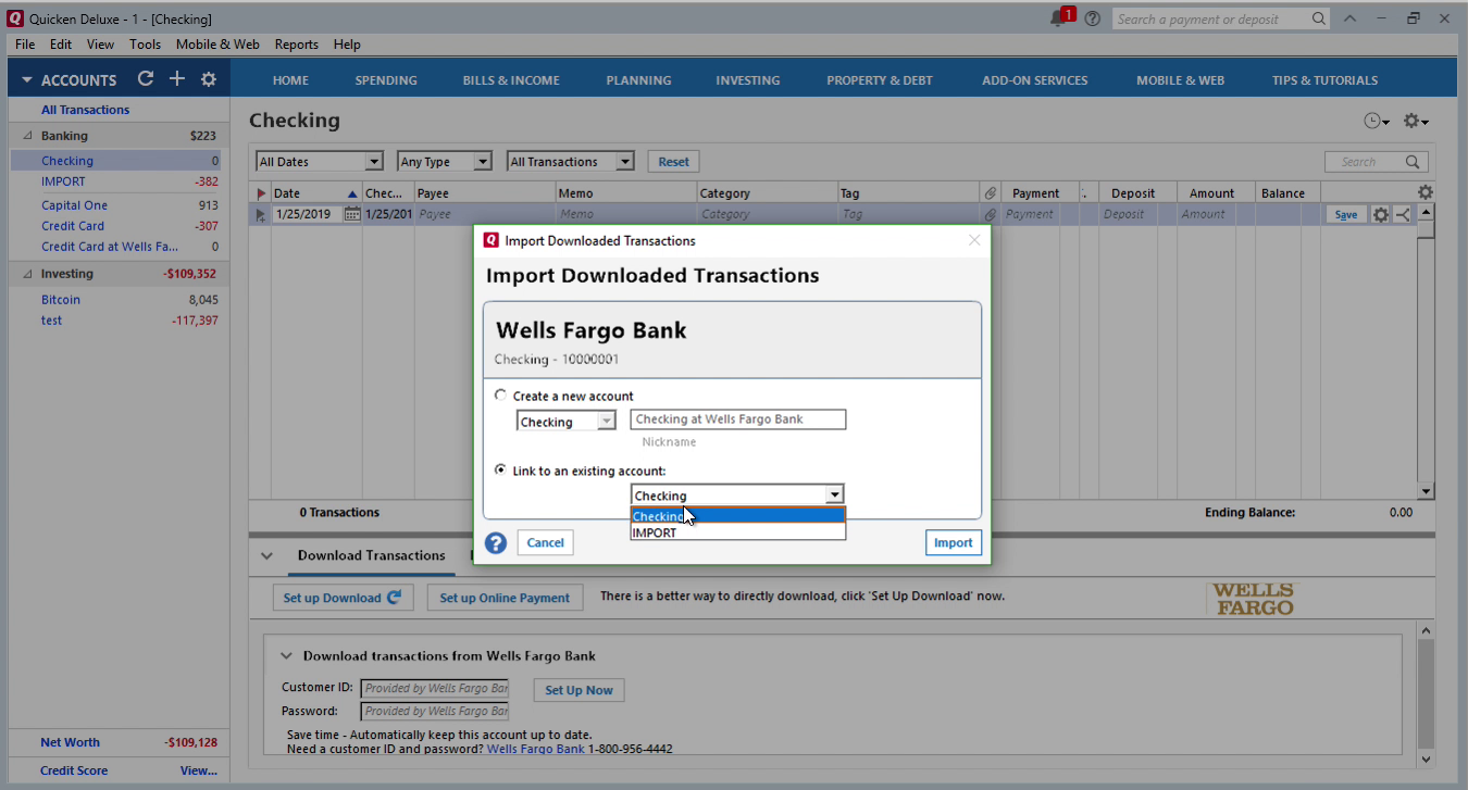 OFX2QFX Windows Step 12: link to an existing account in Quicken
