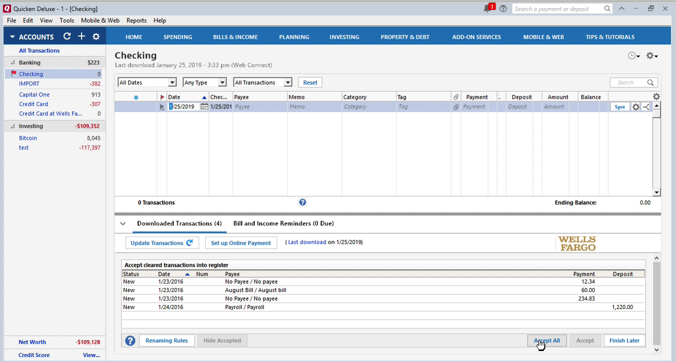 OFX2QFX Windows Step 15: accept all transactions in Quicken