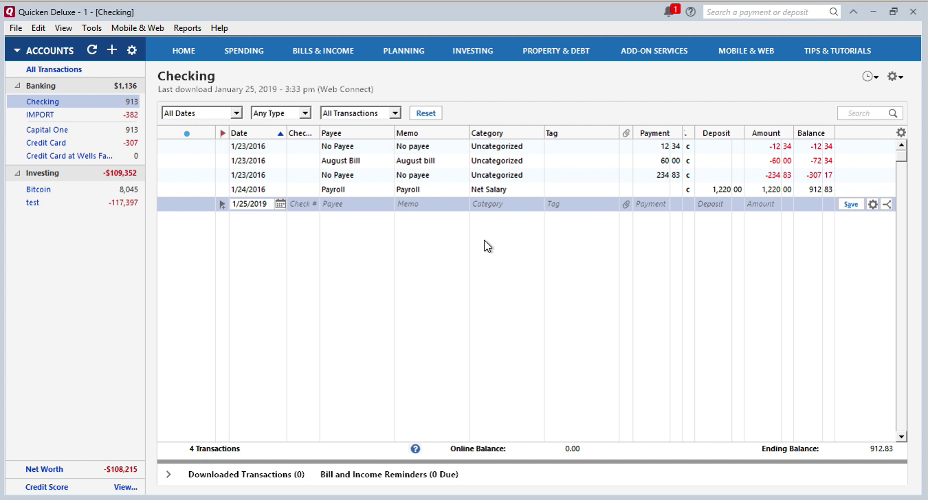 OFX2QFX Windows Step 16: review transactions in Quicken