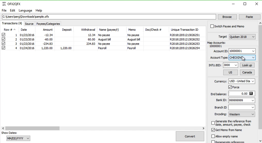 OFX2QFX Windows Step 4: Account ID and Account Type