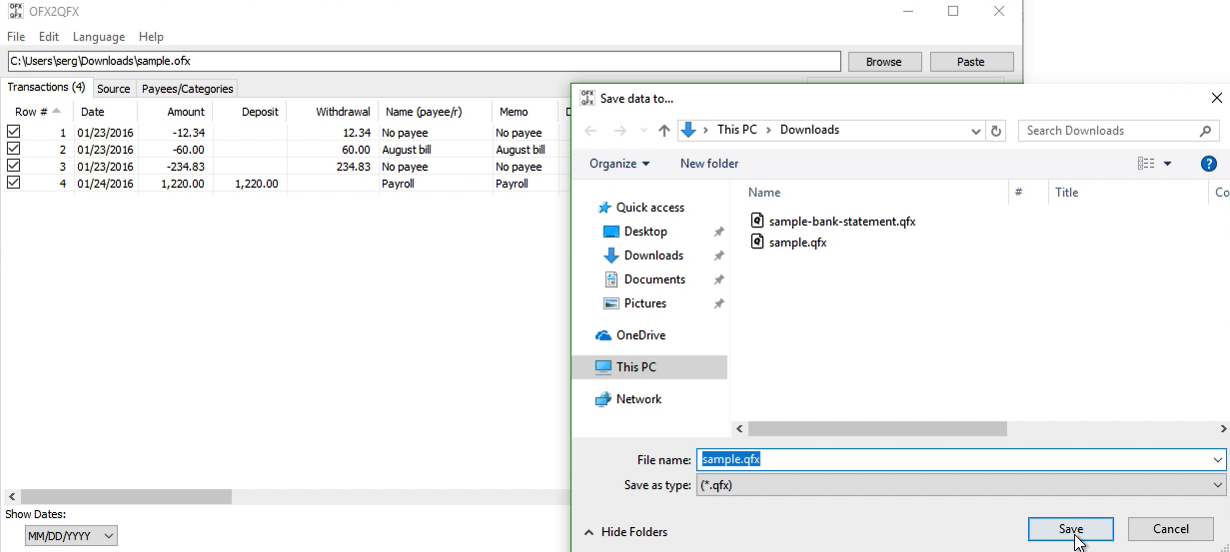 OFX2QFX Windows Step 8: file name and location, save