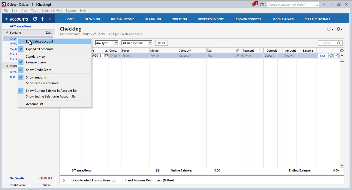 OFX2QFX Windows Step 9: edit the account in Quicken