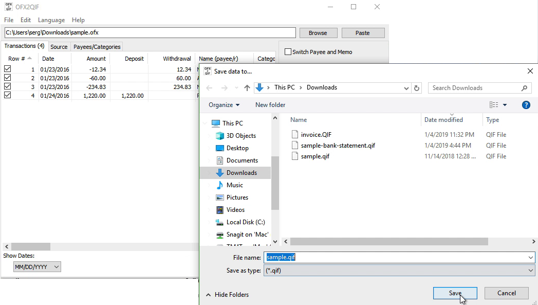 OFX2QIF Windows Step 6: file name and location, save