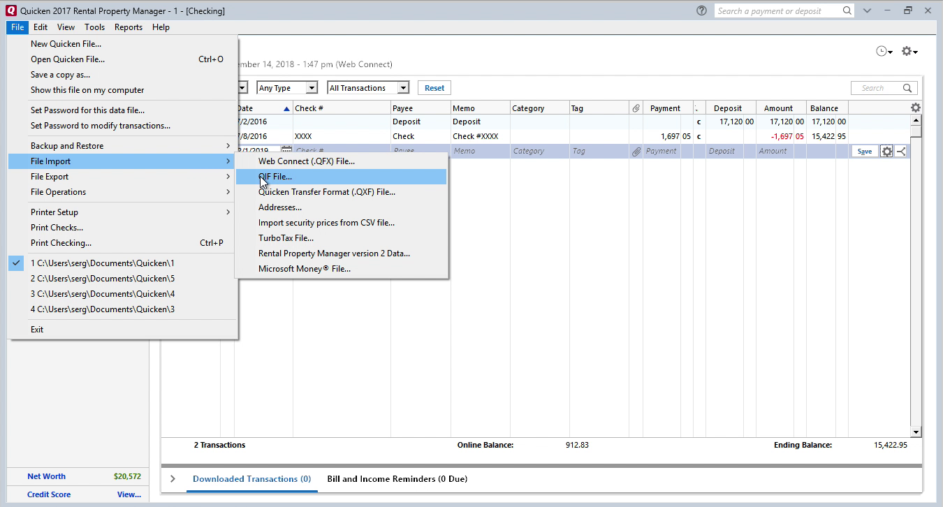 OFX2QIF Windows Step 7: file import in Quicken