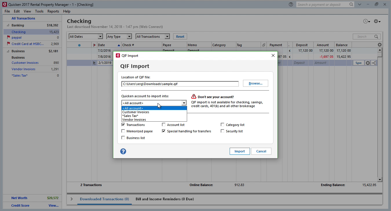 OFX2QIF Windows Step 8: all accounts in Quicken