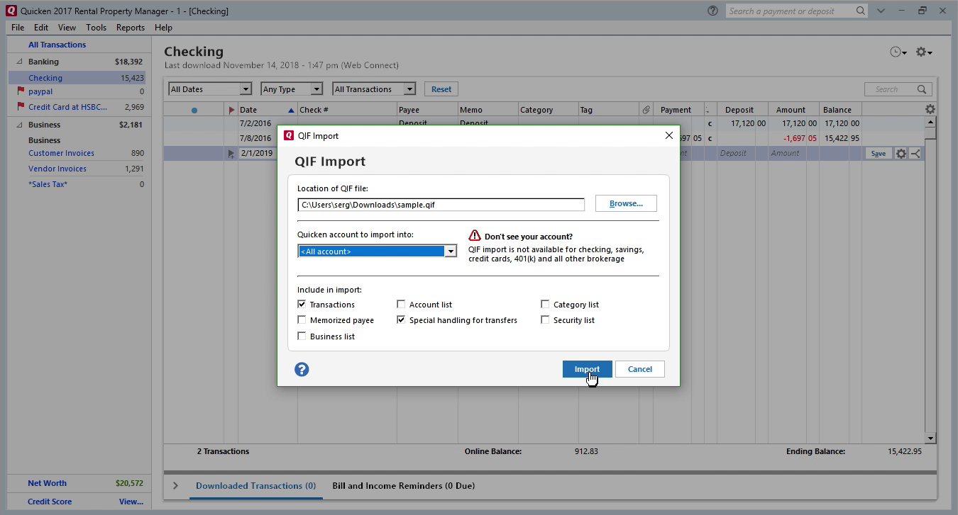 OFX2QIF Windows Step 9: click import in Quicken