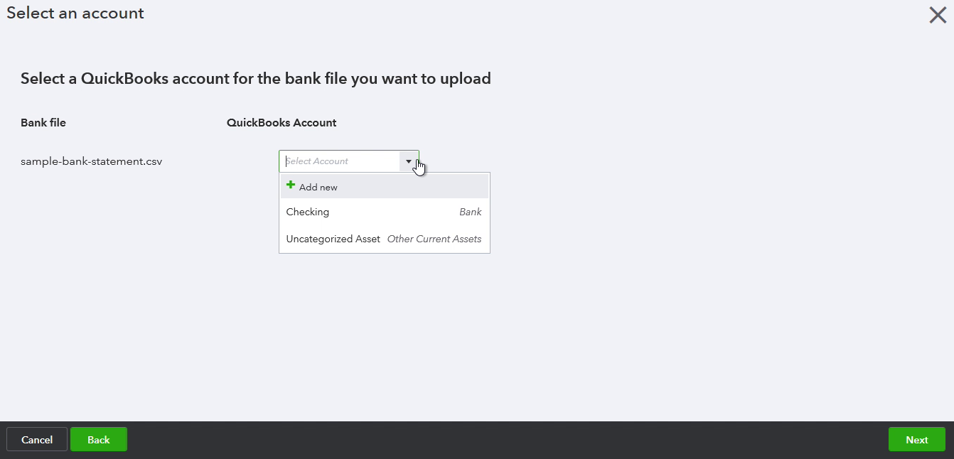 PDF2CSV Windows Step 12: select an account in Quickbooks to import