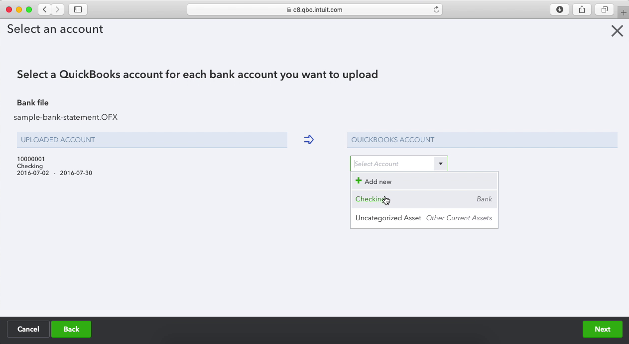 PDF2OFX Mac Step 12: select an account in Quickbooks