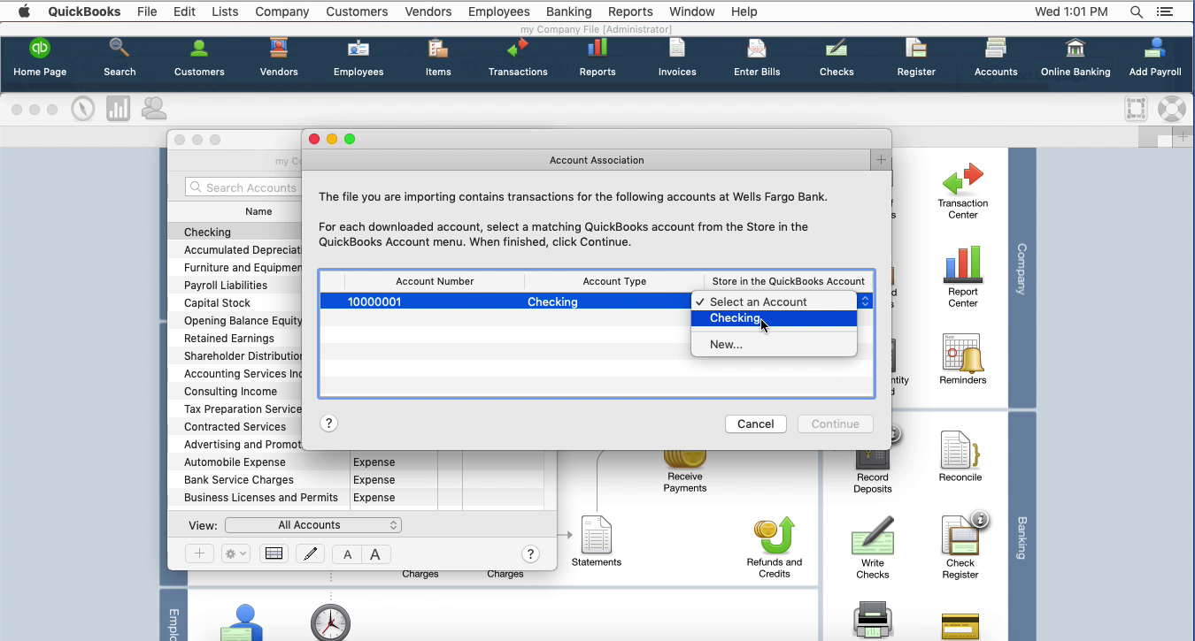 PDF2QBO Mac Step 15: select an existing account in Quickbooks