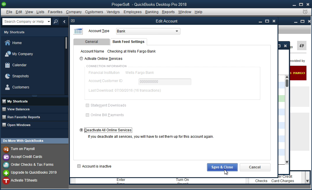 PDF2QBO Windows Step 12: deactivate all online services in Quickbooks