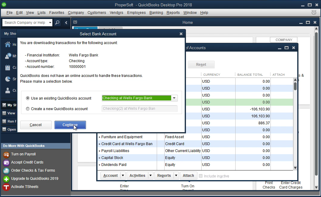 PDF2QBO Windows Step 13: select an existing account in Quickbooks