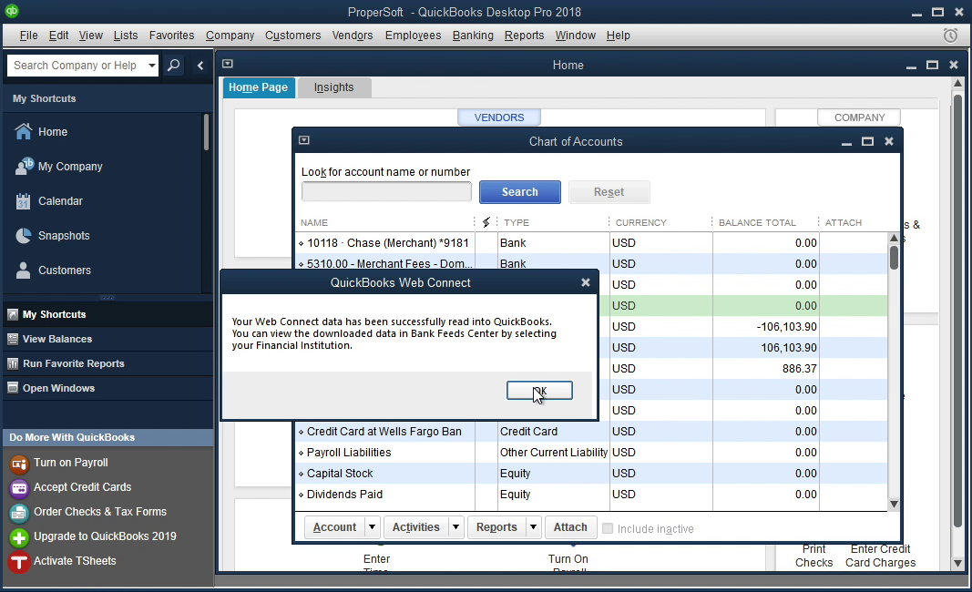 PDF2QBO Windows Step 14: data is imported in Quickbooks