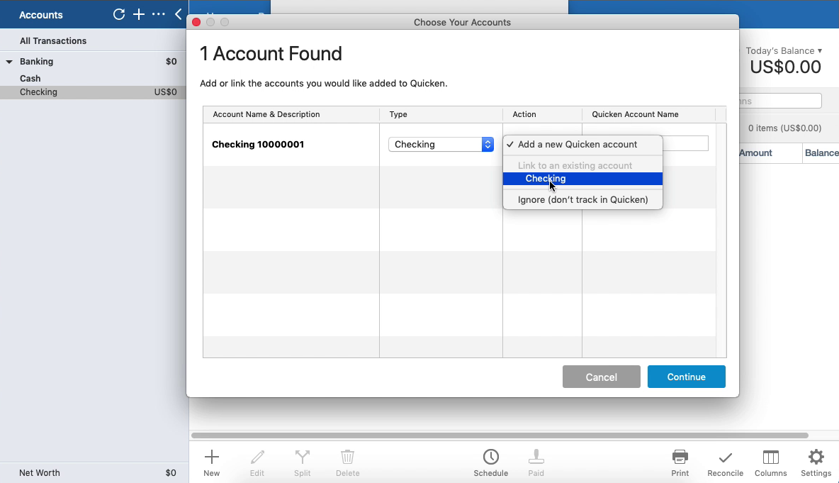 PDF2QFX Mac Step 15: select an existing account in Quicken