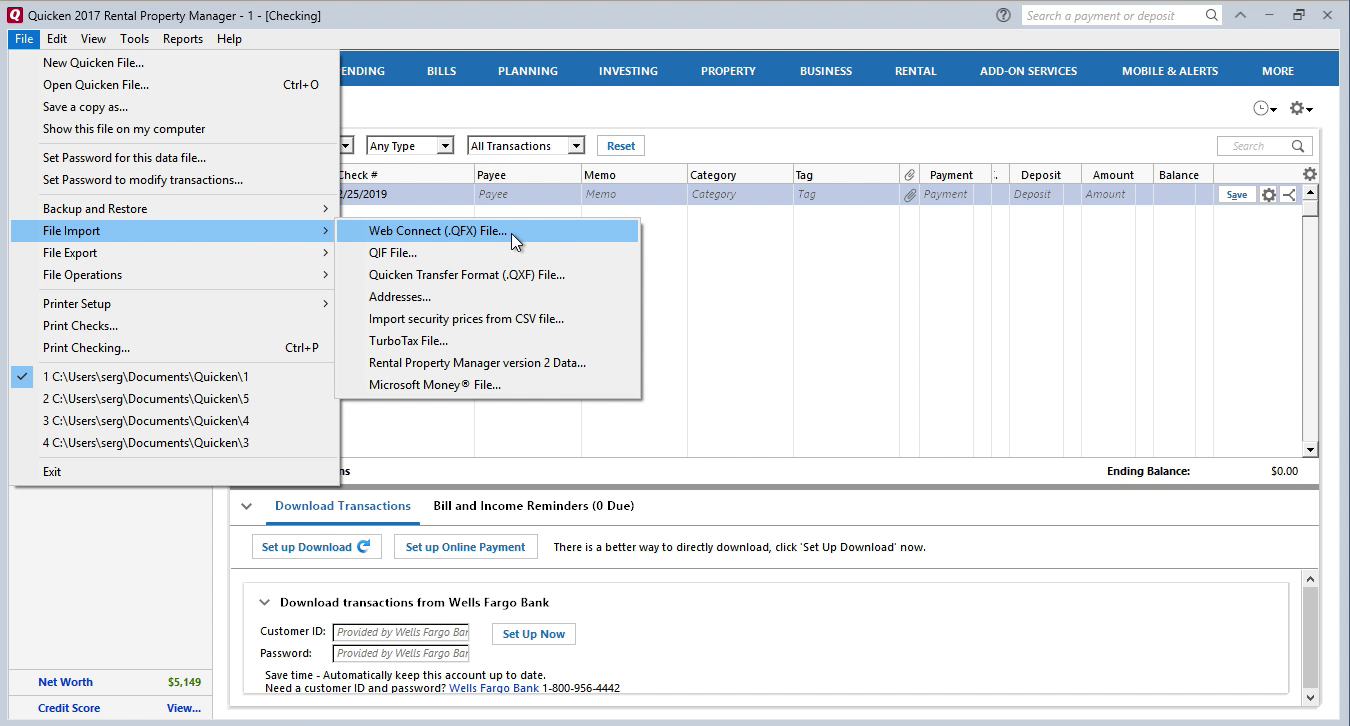 PDF2QFX Windows Step 13: file, import, web connect in Quicken