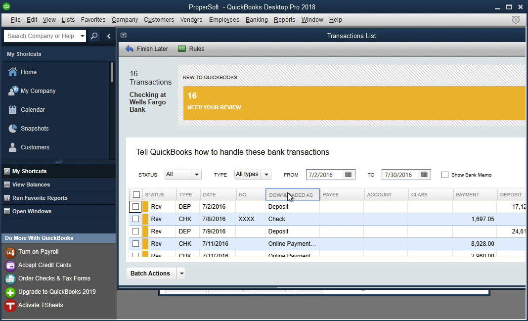 Bank2QBO Windows Step 16: downloaded as column in Quickbooks