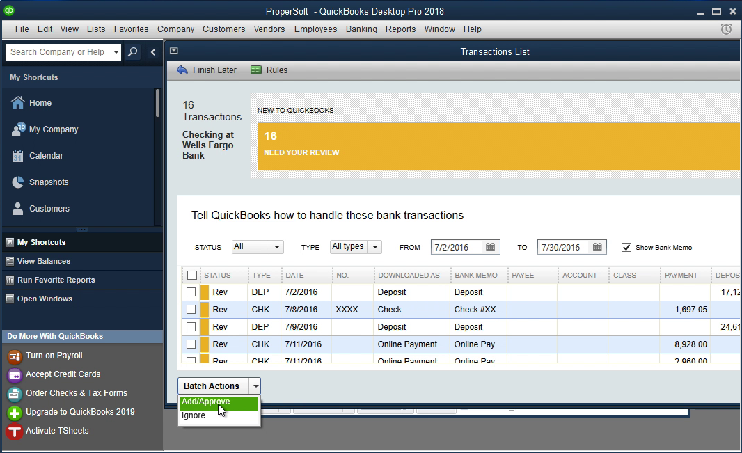 Bank2QBO Windows Step 18: add transactions to the register in Quickbooks