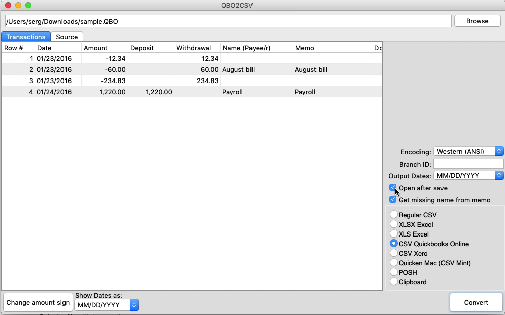 QBO2CSV Mac Step 4: Open after save
