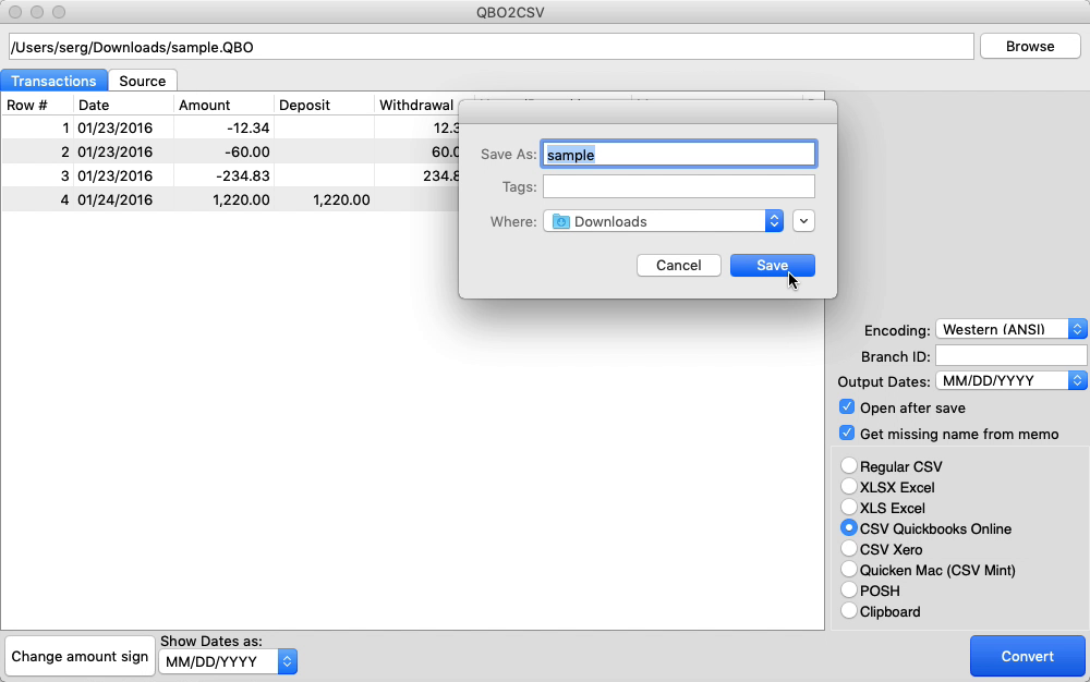 QBO2CSV Mac Step 6: confirm name and location and save