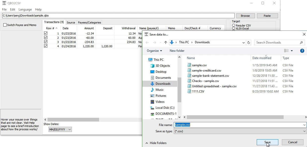 QBO2CSV Windows Step 5: file name and location and save