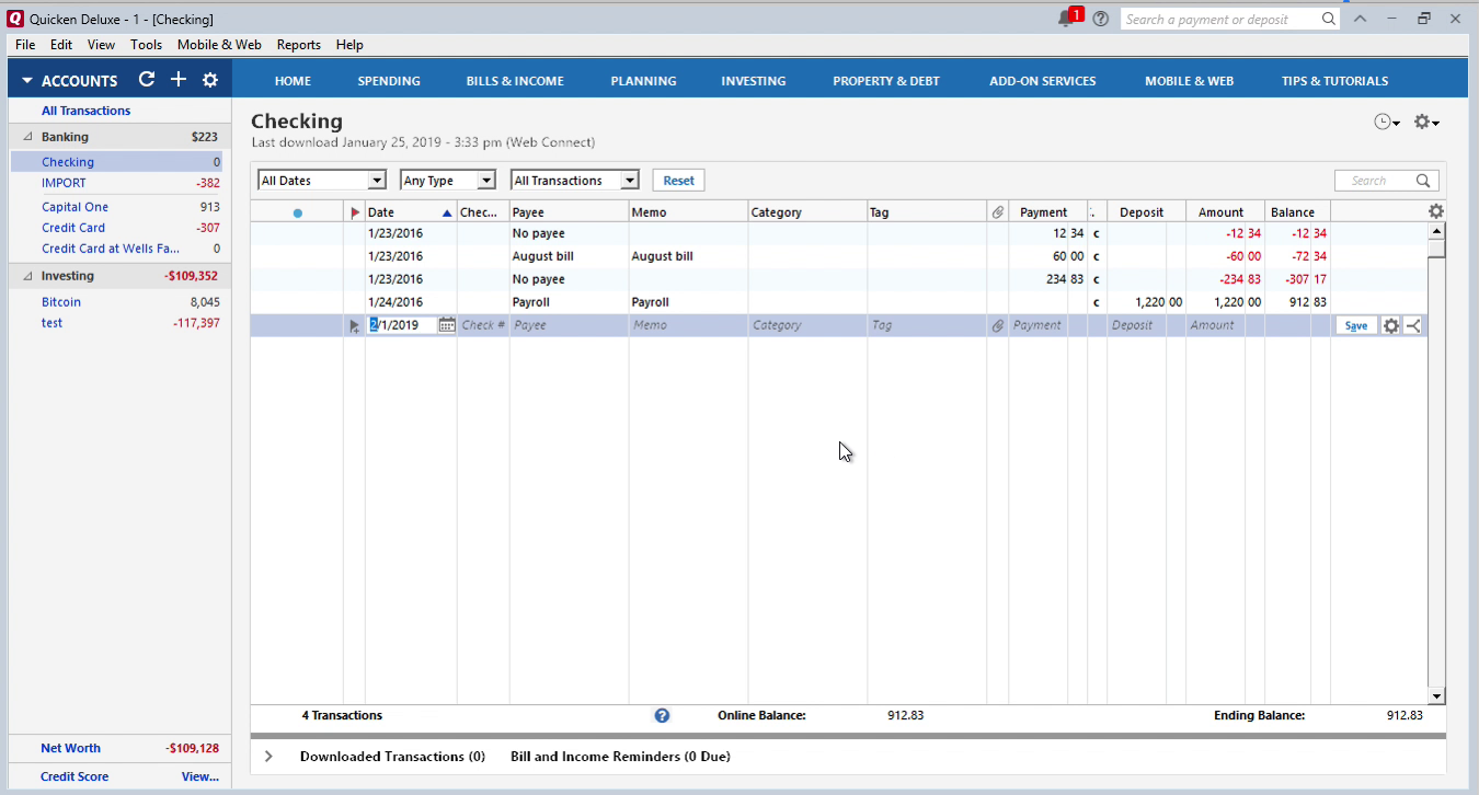 QBO2QIF Windows Step 11: Review transaction after import in Quicken