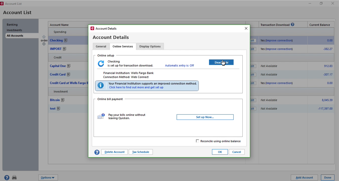 Bank2QFX Windows Step 11: click deactivate in Quicken