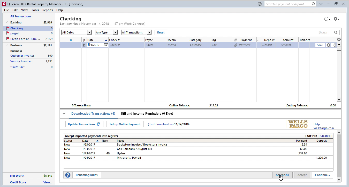 QFX2QIF Windows Step 11: data is imported in Quicken