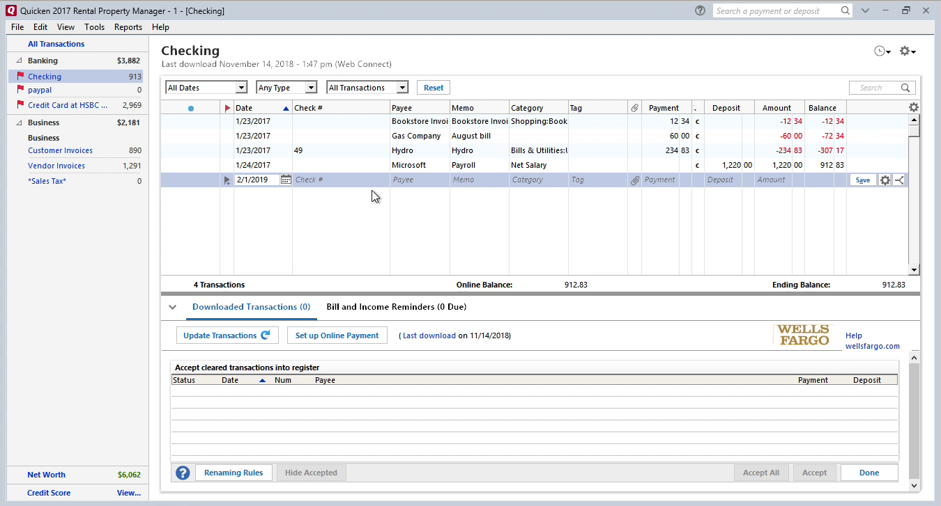 QFX2QIF Windows Step 12: Review transaction after import in Quicken