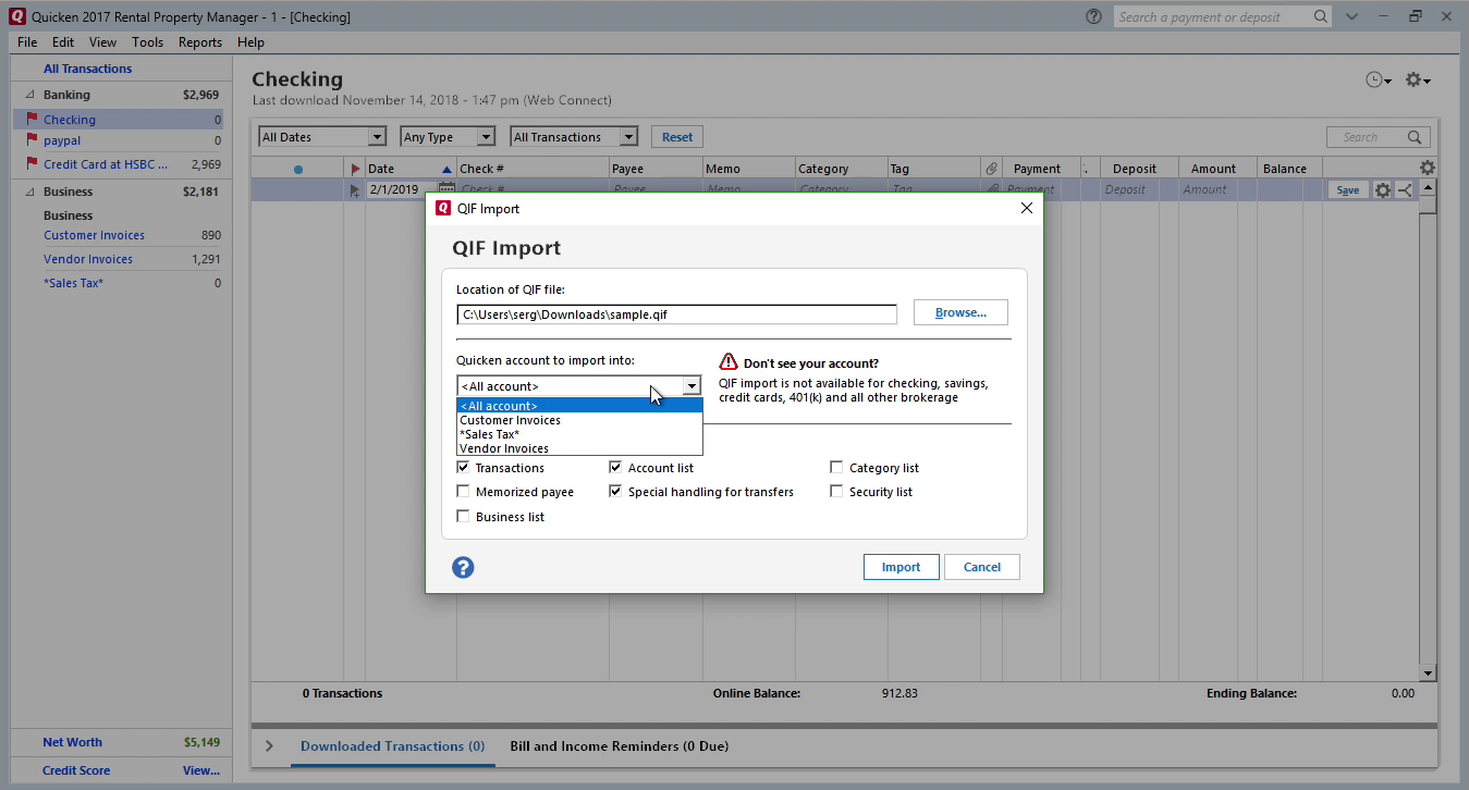 QFX2QIF Windows Step 8: all accounts in Quicken