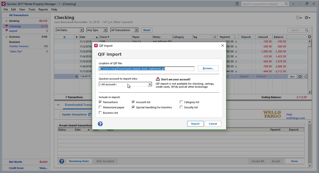 Bank2QIF Windows Step 9: all accounts in Quicken