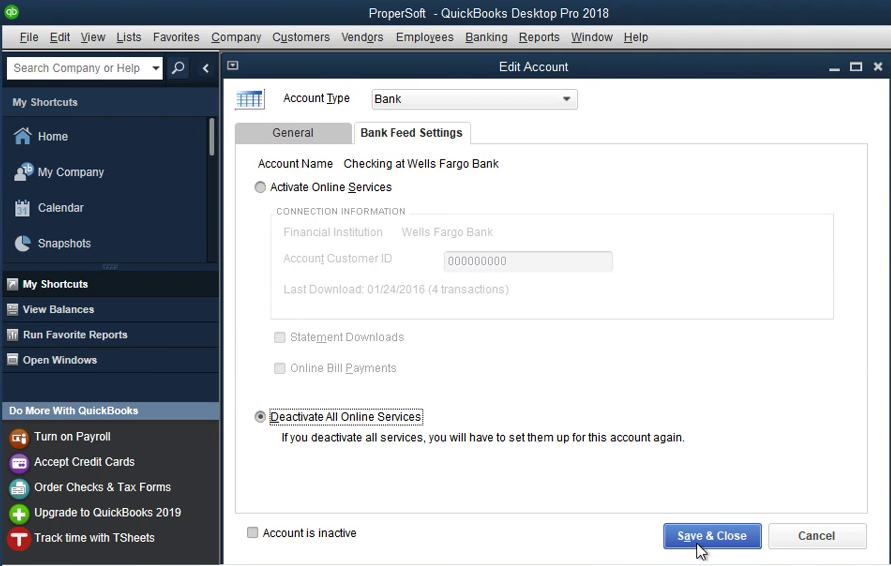 QIF2QBO: Convert QIF to QBO and import into Quickbooks Step 13: deactivate services