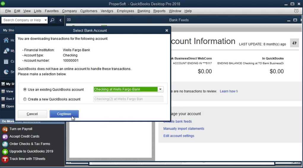 QIF2QBO: Convert QIF to QBO and import into Quickbooks Step 15: select checking