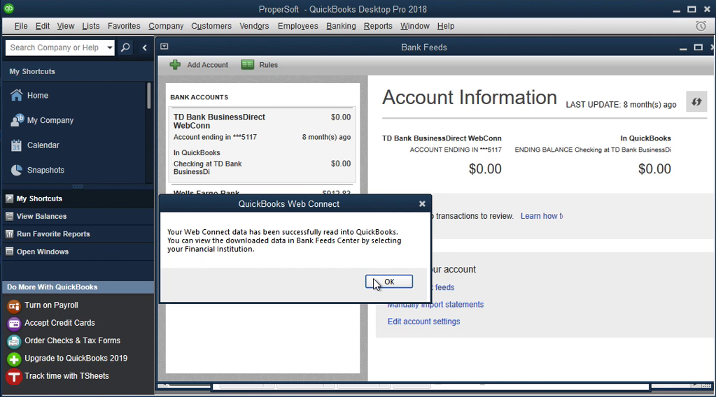 QIF2QBO: Convert QIF to QBO and import into Quickbooks Step 16: qbo file imported