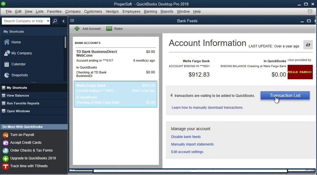 QIF2QBO: Convert QIF to QBO and import into Quickbooks Step 17: transaction list
