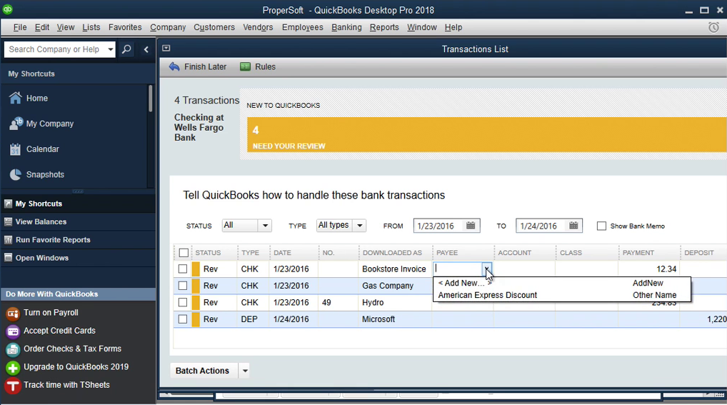 QIF2QBO: Convert QIF to QBO and import into Quickbooks Step 18: payee