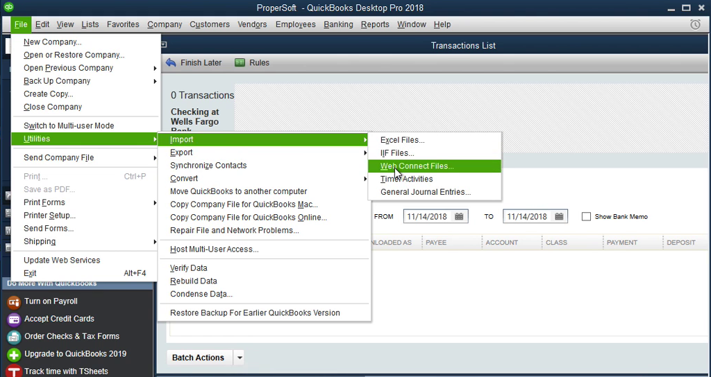 QIF2QBO: Convert QIF to QBO and import into Quickbooks Step 8: file import