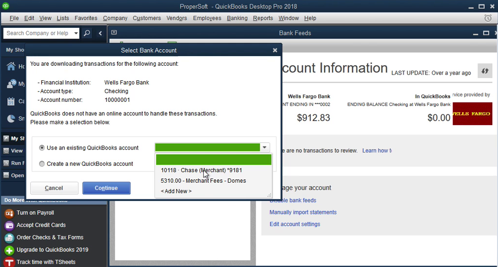QIF2QBO: Convert QIF to QBO and import into Quickbooks Step 9: select bank account