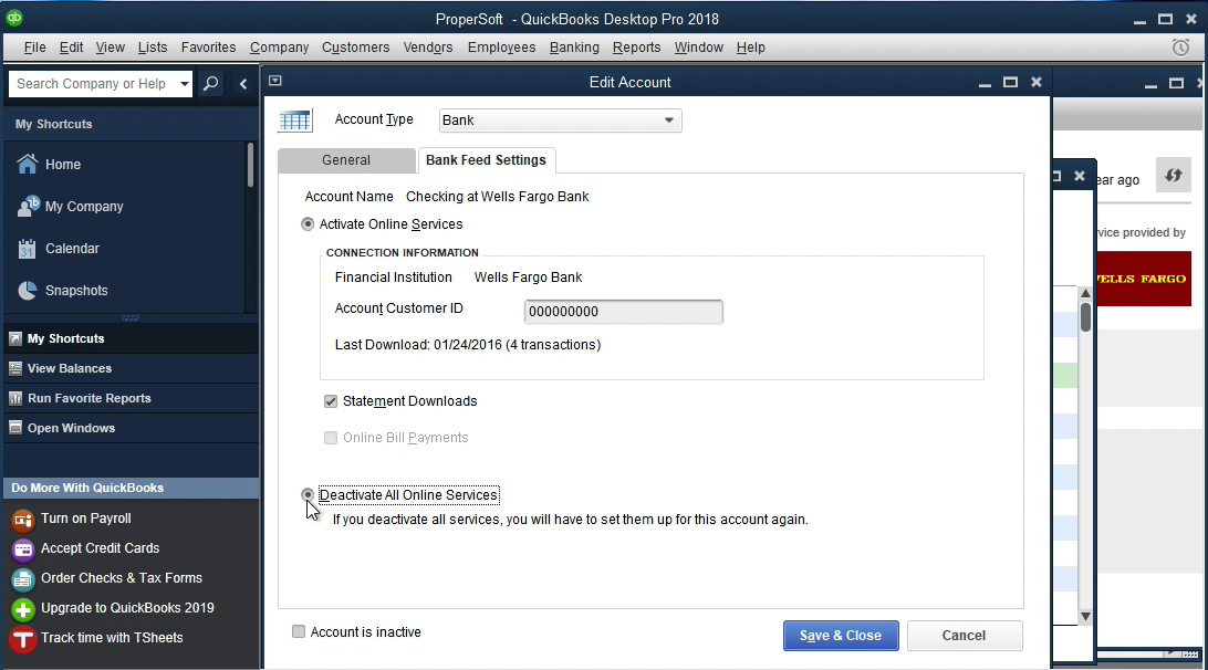 QIF2QBO Windows Step 11: deactivate all online services in Quickbooks
