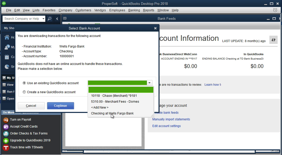 QIF2QBO Windows Step 13: select an existing account in Quickbooks